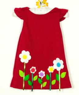 κόκκινο φόρεμα παιδικό με λουλούδια κουμπάκια