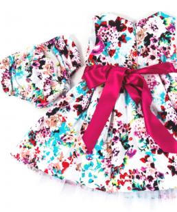 φορεμα με τουλι λουλουδια