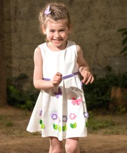 χειροποίητο λευκό φόρεμα λεβαντα