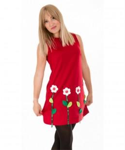 κοκκινο φορεμα γυναικειο απλικε χειροποιητο κηπος