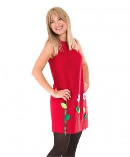 red dress-woman dress applique