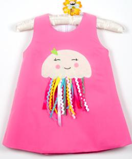 χειροποίητο φόρεμα ροζ μέδουσα
