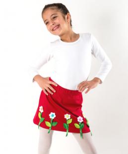 Κόκκινη φούστα με Λουλούδια Χειροποίητη