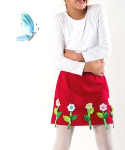 χειροποίητη κόκκινη παιδική φούστα με λουλούδια