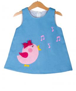 χειροποίητο γαλάζιο φόρεμα πουλάκι