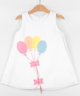 παιδικό φόρεμα μπαλόνια λευκο marvie