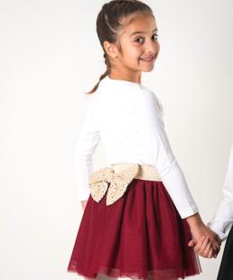 τούλινη παιδική φούστα μπορντώ