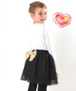 μαυρη παιδικη τουλινη φουστα με φιογκο