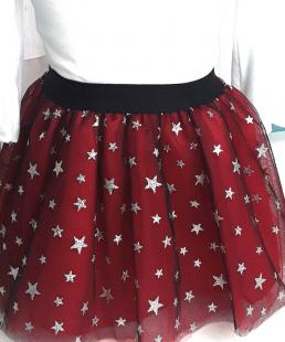 τούλινη παιδική φούστα με αστεράκια-κόκκινη