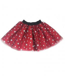 φούστα με τούλι αστεράκια-κόκκινη