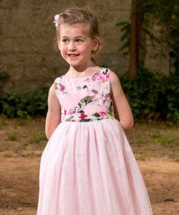 φορεμα με τουλι αμυγδαλια