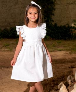 λευκό παιδικό λινο φόρεμα
