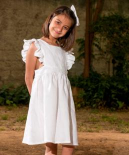 λινο λευκό φόρεμα για κορίτσια
