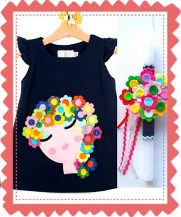 σετ φόρεμα και λαμπάδα λουλούδια