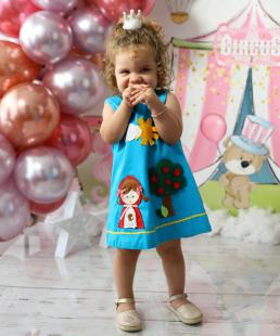 χεροποίητο παιδικό φόρεμα κοκκινοσκουφίτσα