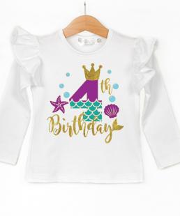 μπλούζα για τέταρτα γενέθλια γοργόνα