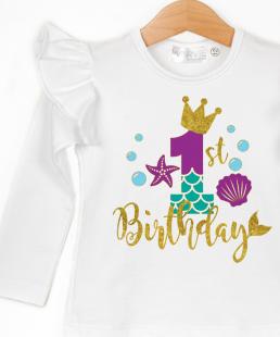 μπλουζάκι γενεθλίων πρώτα γενέθλια γοργόνα