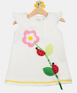 λευκό παιδικό φόρεμα πασχαλίτσες