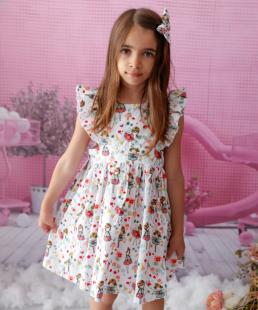 καλοκαιρινό παιδικό φόρεμα με βολάν μανίκια marvie