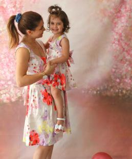 Μαμά Κόρη σετ φορέματα λουλούδια
