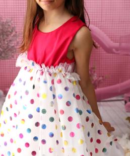 φόρεμα με τούλι πουά για κορίτσια