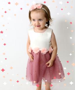 φόρεμα με τούλι και λουλούδια για κορίτσια